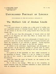 Cover of: Unpublished portrait of Lincoln | McClure, S. S.