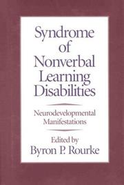 Cover of: Syndrome of nonverbal learning disabilities |