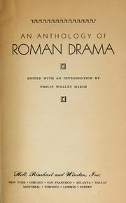 Cover of: An anthology of Roman drama