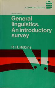Cover of: General linguistics | R. H. Robins