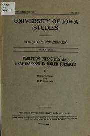Cover of: Radiation intensities and heat-transfer in boiler furnaces