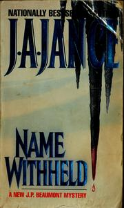 Cover of: Name withheld | J. A. Jance