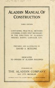 Cover of: Aladdin Manual of construction | David S. Betcone