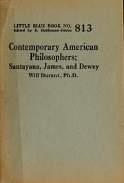 Cover of: Contemporary American philosophers