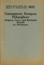 Cover of: Contemporary European philosophers