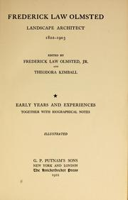Cover of: Frederick Law Olmsted, landscape architect, 1822-1903