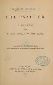 Cover of: The Psalter | Talbot W. Chambers