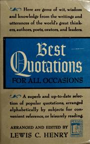 Cover of: Best quotations for all occasions