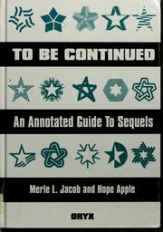 Cover of: To be continued | Merle Jacob