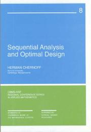 Cover of: Sequential Analysis and Optimal Design (CBMS-NSF Regional Conference Series in Applied Mathematics) (CBMS-NSF Regional Conference Series in Applied Mathematics)