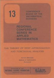Cover of: The Theory of Best Approximation and Functional Analysis (CBMS-NSF Regional Conference Series in Applied Mathematics) (CBMS-NSF Regional Conference Series in Applied Mathematics)