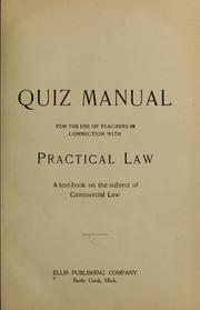 Cover of: Quiz manual for the use of teachers in connection with practice law | Ellis publishing company. [from old catalog]