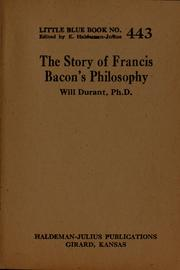 Cover of: The story of Francis Bacon's philosophy