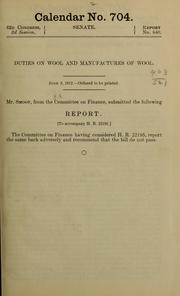 Cover of: Duties on wool and manufactures of wool ...