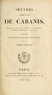 Cover of: Oeuvres complètes de Cabanis