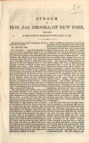 Cover of: Speech of Hon. Jas. Brooks, of New York, delivered in the House of Representatives, April 19, 1964