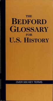 Cover of: The Bedford glossary for U.S. history | Marion Menzin