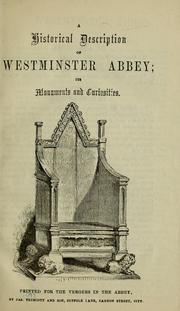 Cover of: A Historical description of Westminster Abbey