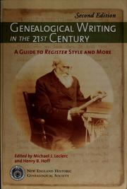 Cover of: Genealogical writing in the 21st century | Michael J. Leclerc, Henry B. Hoff