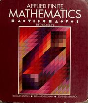 Cover of: Applied finite mathematics | Howard Anton