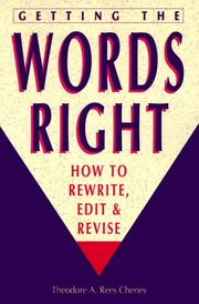 Cover of: Getting the Words Right | Theodore A. Rees Cheney