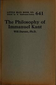 Cover of: The philosophy of Immanuel Kant