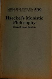 Cover of: Haeckel's monistic philosophy