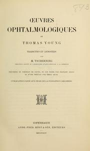 Cover of: Oeuvres ophthalmologiques de Thomas Young