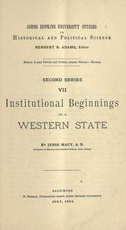 Cover of: Institutional beginnings in a western state [Iowa]