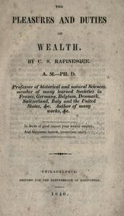 Cover of: The pleasures and duties of wealth