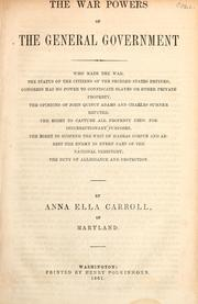 Cover of: The war powers of the general government