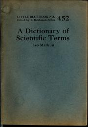 Cover of: A dictionary of scientific terms