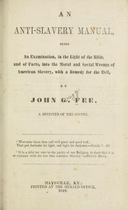 Cover of: An anti-slavery manual