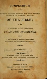 Cover of: A compendium of the religious doctrines | Dickinson, Rodolphus