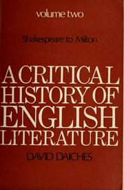 Cover of: A critical history of English literature