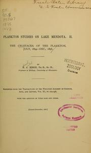 Cover of: The crustacea of the plankton, July, 1894-Dec., 1896