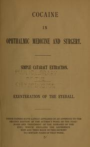 Cover of: Cocaine in ophthalmic medicine and surgery | Williams, Henry W.