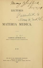 Cover of: Lectures on materia medica