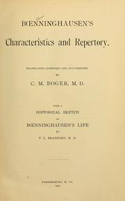 Cover of: Boenninghausen's characteristics and repertory