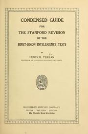 Cover of: Condensed guide for the Stanford revision of the Binet-Simon intelligence tests