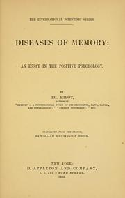 Cover of: Diseases of memory: an essay in the positive psychology