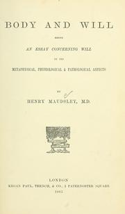 Cover of: Body and will