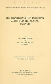 Cover of: The significance of psychoanalysis for the mental sciences | Otto Rank