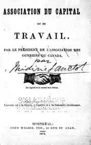 Cover of: Association du capital et du travail by Médéric Lanctot