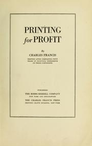 Cover of: Printing for profit