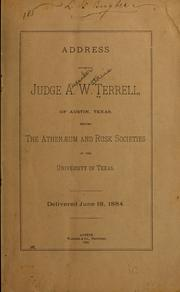 Cover of: Address before the Athenæum and Rusk Societies of the University of Texas
