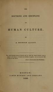 Cover of: The doctrine and discipline of human culture