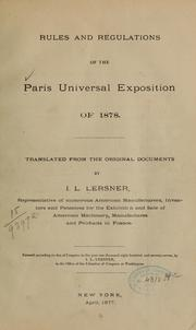 Cover of: Rules and regulations of the Paris universal exposition of 1878