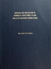 Cover of: Criteria for application of hydraulic fracturing to gas wells in western Pennsyvania