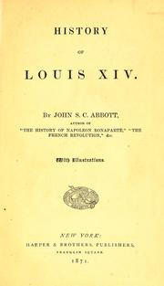 Cover of: History of Louis XIV